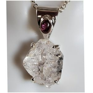Huge Herkimer Diamond and Tourmaline Pendant